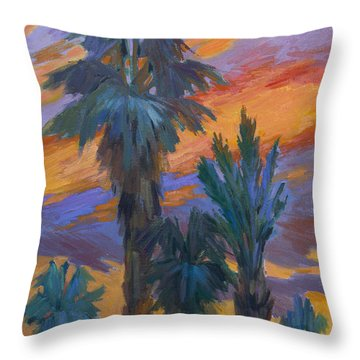Palms And Sunset Throw Pillow by Diane McClary