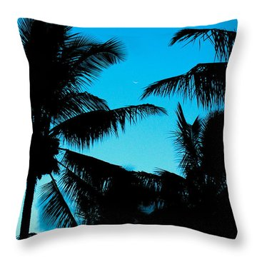 Palms At Dusk With Sliver Of Moon Throw Pillow