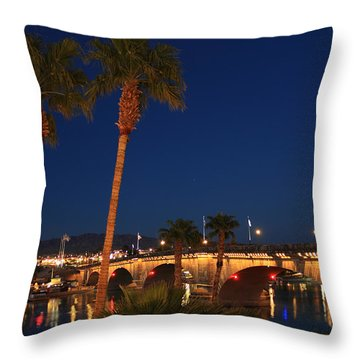 Palms At London Bridge Throw Pillow