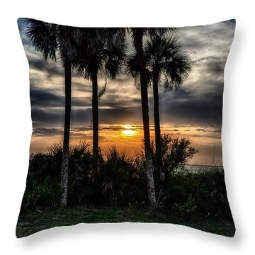 Palms At Sunet Throw Pillow by Michael White