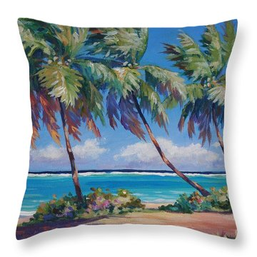 Palms At The Island's End Throw Pillow by John Clark