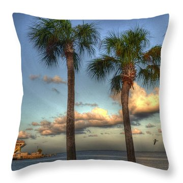 Palms At The Pier Throw Pillow by Timothy Lowry