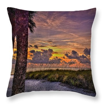 Palms Down To The Beach Throw Pillow by Marvin Spates