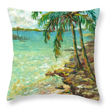 Palms On Point Of Rocks Throw Pillow by Lou Ann Bagnall