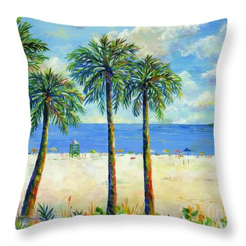 Palms On Siesta Key Beach Throw Pillow by Lou Ann Bagnall
