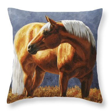 Palomino Horse - Gold Horse Meadow Throw Pillow