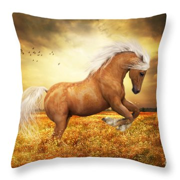 Palomino Horse Throw Pillows