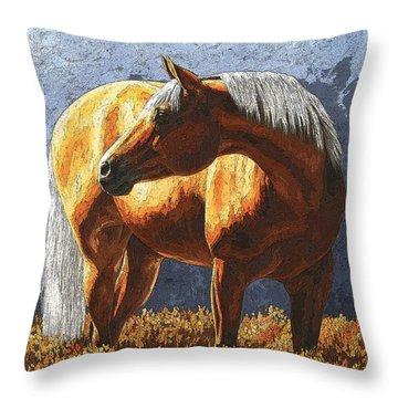 Palomino Horse - Variation Throw Pillow