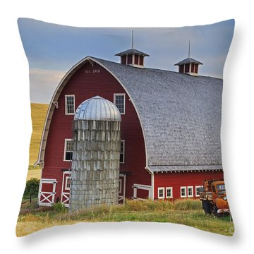 Palouse Barn - Est. 1919 Throw Pillow by Mark Kiver