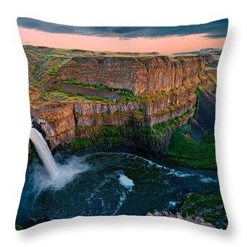 Palouse Falls Sunset Throw Pillow by Dan Mihai