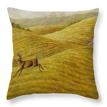 Palouse Farm Whitetail Deer Throw Pillow