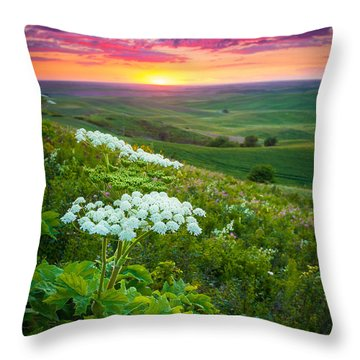 Palouse Flowers Throw Pillow by Inge Johnsson