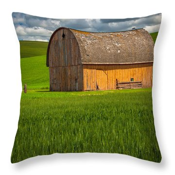 Palouse Yellow Barn Throw Pillow