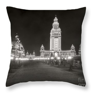Throw Pillow featuring the photograph Pan Am Night Tower 1901 by Martin Konopacki Restoration