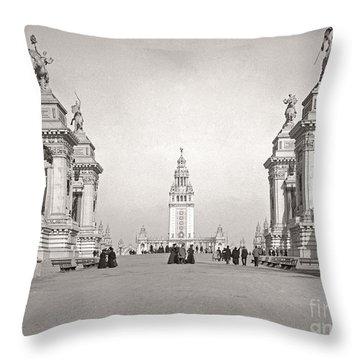 Throw Pillow featuring the photograph Pan Am Tower Approach 1901 by Martin Konopacki Restoration