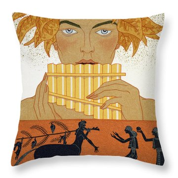 Pan Piper Throw Pillow by Georges Barbier