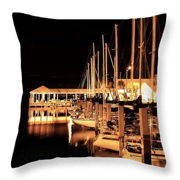 Panama City Marina Throw Pillow