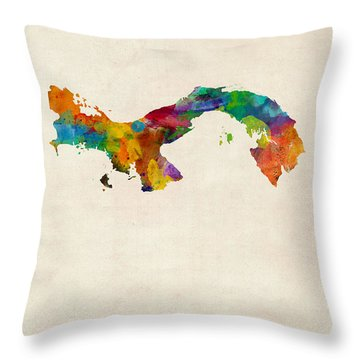 Panama Watercolor Map Throw Pillow by Michael Tompsett