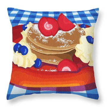 Throw Pillow featuring the painting Pancakes Week 10 by Meg Shearer