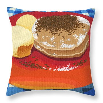 Throw Pillow featuring the painting Pancakes Week 15 by Meg Shearer