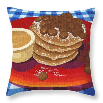Throw Pillow featuring the painting Pancakes Week 4 by Meg Shearer