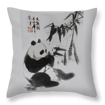 Panda And Bamboo Throw Pillow