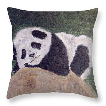 Panda Bear Sleepy Baby Cub Throw Pillow by Ella Kaye Dickey