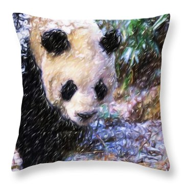 Panda Bear Walking In Forest Throw Pillow by Lanjee Chee