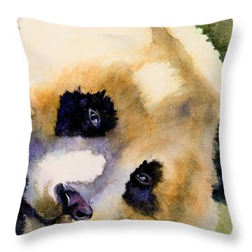 Throw Pillow featuring the painting Panda Cub by Bonnie Rinier