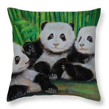Panda Cubs Throw Pillow by Jean Cormier