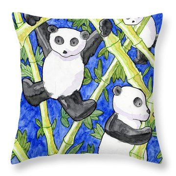 Panda Cubs Throw Pillow by Whitney Morton