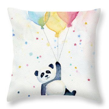 Panda Floating With Balloons Throw Pillow