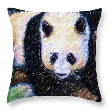 Panda In The Rest Throw Pillow by Lanjee Chee