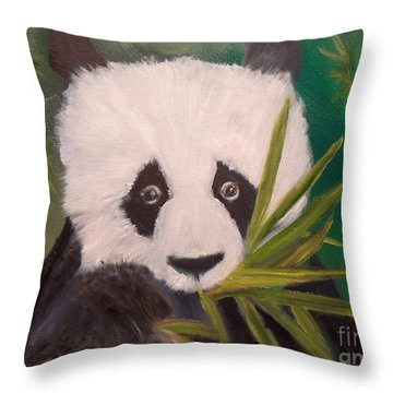 Throw Pillow featuring the painting Panda by Jenny Lee