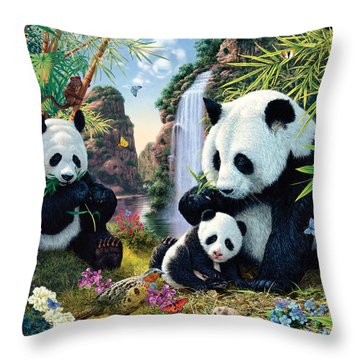 Panda Valley Throw Pillow