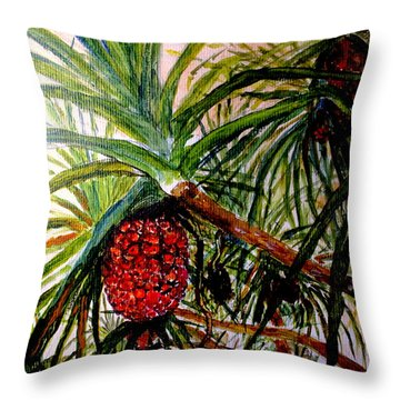 Throw Pillow featuring the painting Pandanus Palm Fruit  by Jason Sentuf