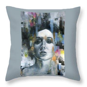 Female Portrait Throw Pillows