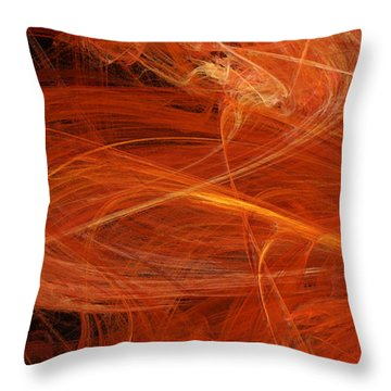 Panel 1 Of 5 Dancing Flames 2 H Pentaptych - Abstract - Fractal Art Throw Pillow by Andee Design