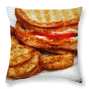 Panini Sandwich And Potato Wedges 3 Throw Pillow by Andee Design