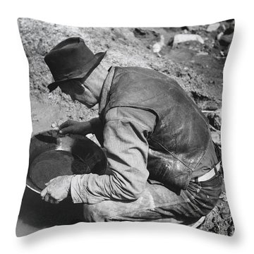 Panning For Gold Throw Pillow by Russell Lee