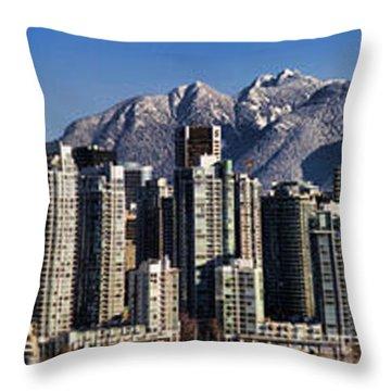 Pano Vancouver Snowy Skyline Throw Pillow by David Smith