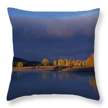 Throw Pillow featuring the photograph Panorama Clearing Storm Oxbow Bend Grand Tetons National Park Wyoming by Dave Welling