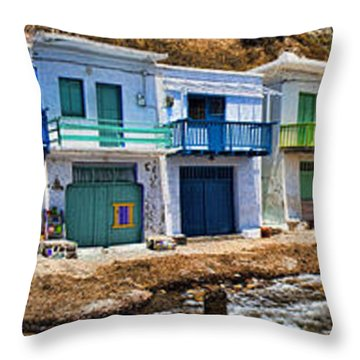 Panorama Of Tiny Colorful Fishing Huts In Milos Throw Pillow by David Smith