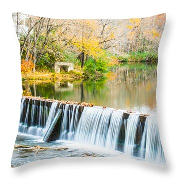 Panorama Of Buck Creek In Autumn Throw Pillow by Parker Cunningham