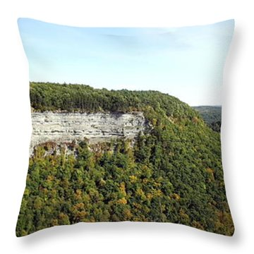 Throw Pillow featuring the photograph Panorama Of Cliff At Letchworth State Park by Rose Santuci-Sofranko