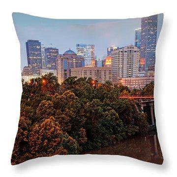 Panorama Of Downtown Houston At Dawn - Texas Throw Pillow