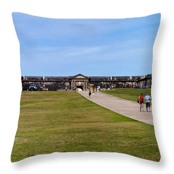 Panorama Of El  Morro Castillo Throw Pillow by Thomas Marchessault