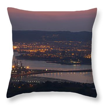 Throw Pillow featuring the photograph Panorama Of Ferrol From Mount Marraxon Galicia Spain by Pablo Avanzini