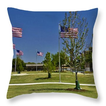 Throw Pillow featuring the photograph Panorama Of Flags - Veterans Memorial Park by Allen Sheffield