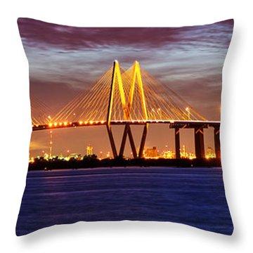 Panorama Of Fred Hartman Bridge Throw Pillow